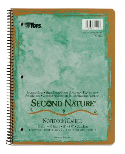 Paper Spiral Bound Graph - TOPS Second Nature Notebook, 8.5 x 11 Inch, Quadrille Ruled, Recycled, 80 Sheets, Assorted Colors (74112)