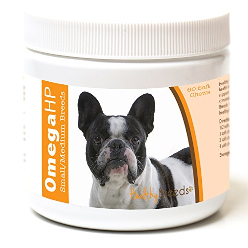 Healthy Breeds Dog OmegaHP Fish Oil Tasty Chews for French Bulldog - Over 100 Breeds - EPA & DHA Fatty Acids - Small & Medium Breed Formula - 60 Count