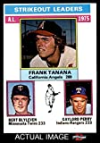 1976 Topps # 204 AL Strikeout Leaders Frank Tanana / Bert Blyleven / Gaylord Perry Angels / Twins / Indians / Rangers (Baseball Card) Dean's Cards 5 - EX Angels / Twins / Indians / Rangers