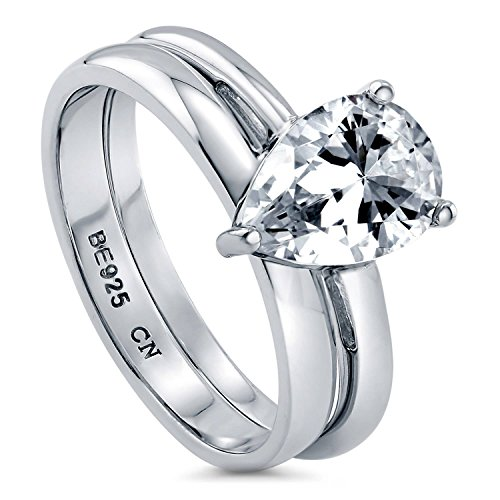BERRICLE Rhodium Plated Sterling Silver Pear Cut Cubic Zirconia CZ Solitaire Engagement Wedding Ring Set 1.8 CTW Size 6 ()