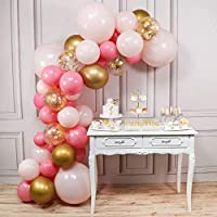 PartyWoo Pink and Gold Balloons, 44 pcs Light Pink Balloons, Gold Metallic Balloons, Fuchsia Balloons and Gold Confetti Balloons for Pink and Gold Baby Shower, 4 pcs 18 In Jumbo Pink Balloons Included