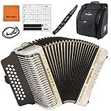 Hohner 3500FW Corona II F/Bb/EB Diatonic Accordion- White Bundle with Hohner Bag, Strap, Mini Harmonica, Juliet Music Polish Cloth & Piano Key Stickers (Color: 3500FW, Tamaño: Corona II)