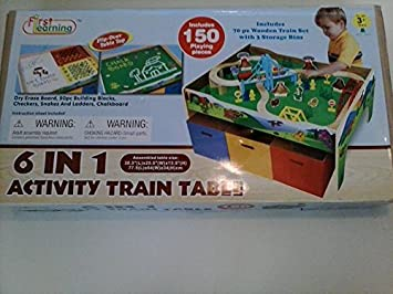 6 In 1 Activity/ Train Table By First Learning (150 Piece Play Set)