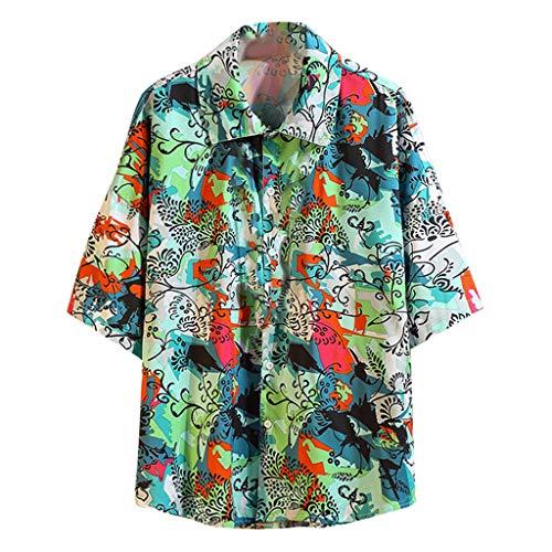 (Men's Summer Casual Shirts Boho Printing Loose Short Sleeve T-Shirt Lapel Turn-Down Tops Blouse (5XL, Green))