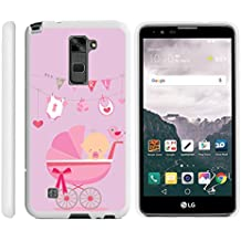 LG Stylus 2 Case , LG Stylo 2 Case | LS775| White Phone Cover, Stylish Snap On Protective Hard Phone Case Exclusive Designs by Miniturtle - Pink Baby Carraige