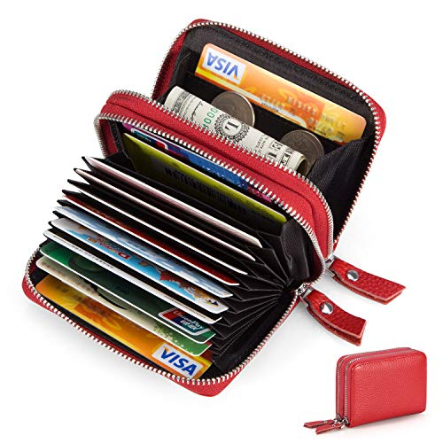 Women's Double-Zip Around Wallet RFID Blocking Credit Card Organizer Compact Small Leather -