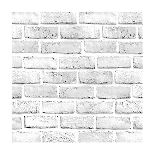Vintage White Brick Pattern Contact Paper Self Adhesive Vinyl Wallpaper for Living Room Bedroom Kitchen Bathroom Wall Decor 17.7 Inches by 16 Feet (Faux Backsplash Roll)