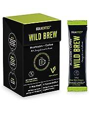 BRAINEFFECT WILD BREW - Lion´s Mane & Chaga Mushroom Coffee - Hooggedoseerde Pruikzwam- en Chaga Poeder (30% paddenstoelenmix) met Ijzer en Zink in Chai Smaak, Vegan, Zonder Toevoegingen - 14 Sticks