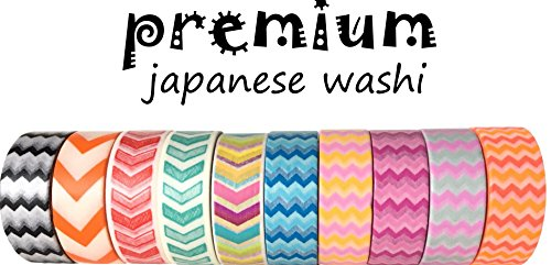 Washi Tape By L'artisant - Premium Quality Set Of 10 Awesome Patterns - Great For Fun DIY Projects, Kids' Crafts, Decorating Planners, Diaries, School Supplies etc.Chevron (Washi Tape Mail)