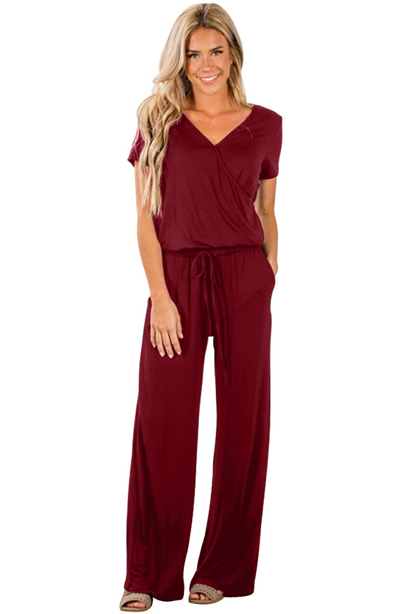 9d21b9a9b043 Amazon.com  OUR WINGS Womens Casual V Neck Short Sleeve Wide Legs Long Pant  Jumpsuits Rompers with Pockets  Clothing