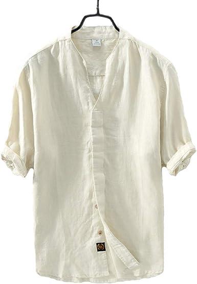 TT Global Camisa de Lino de Manga Corta y Corte Entallado para Hombre, Hombre Casual Camisa De Lino Sin Cuello De Color Sólido Manga Corta Blusas: Amazon.es: Ropa y accesorios