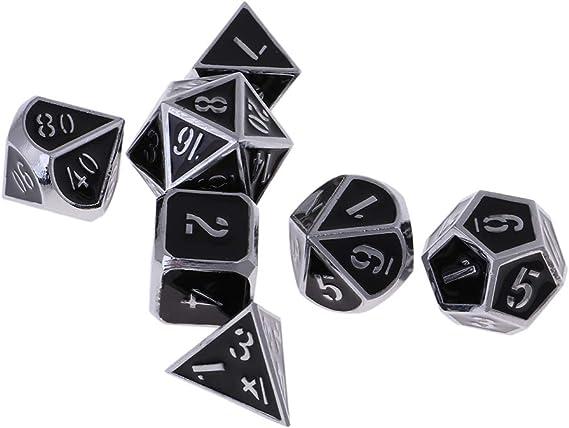 non-brand 7X Dados de Múltiples Caras de Número Hecho de Aleación de Zinc para Juegos de Dado de Mesa - Negro de Cromo: Amazon.es: Juguetes y juegos