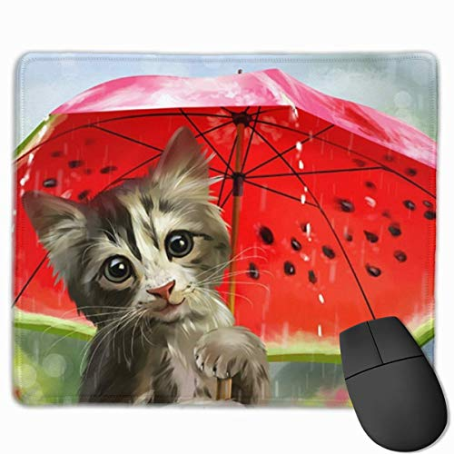 Mouse Pad Watercolor Flower Abstract Herbs Weeds Blossoms Ivy Back with Florets Shrubs Design for Computer Office Gaming,Cat with Watermelon Umbrella,11.8x9.8x0.09 (Umbrella Ivy)