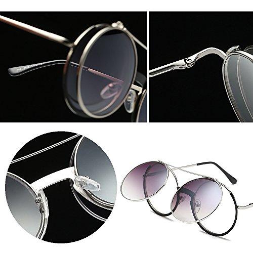 8e99150465 BOZEVON Mujer & Hombre Moda Retro Redondo Fiesta Flip Up Gafas Unisexo  Clásico Gafas de Sol