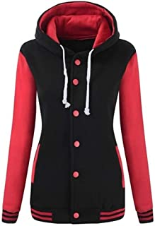 Manteau d'Hiver Femme, Honestyi Pardessus Femme Hiver Chaud Costume De Baseball à Capuchon Sweat Capuche Sport Sweat-Shirt Fille en Forme Outercoat avec Bouton