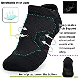 No Show Compression Athletic Running Socks, Wicking Sport Cushion Padded Sock