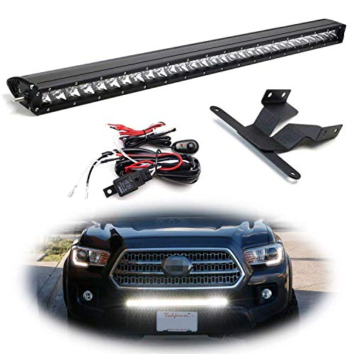 - iJDMTOY Lower Grille Mount 30-Inch LED Light Bar Kit For 2016-up Toyota Tacoma, Includes (1) 150W High Power CREE LED Lightbar, Lower Bumper Opening Mounting Brackets & On/Off Switch Wiring Kit