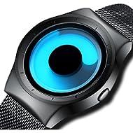 Mens Black Watches Men Waterproof Unique Design Cool Wrist Watch Stainless Steel Mesh Watch for...