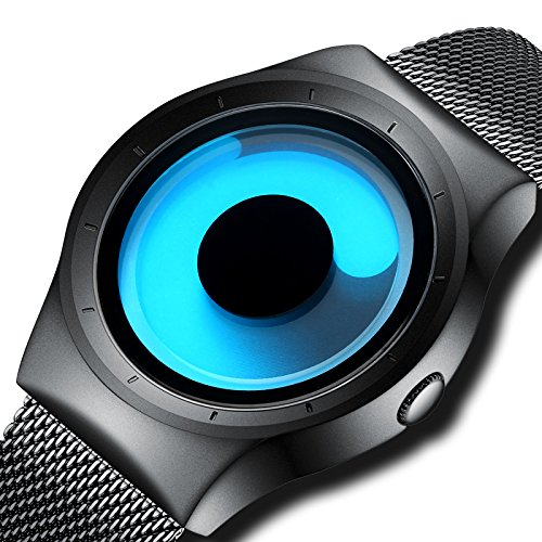KDM Mens Black Watches Men Waterproof Unique Design Cool Wrist Watch Stainless Steel Mesh Watch for Men Blue