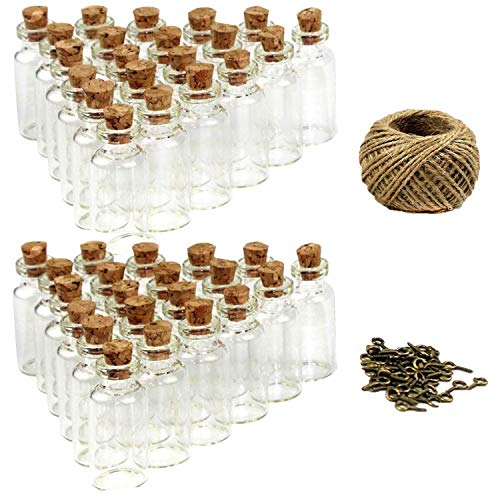 LoveS 50pcs 5ml Mini Glass Jars Bottles with Cork Stoppers Wish Bottles, 50pcs Eye Screws, 30 Meters Twine & 3pcs Funnel