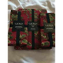 Lauren Ralph Lauren Holiday Birchmont Tablecloth 60x 104 In Holly Berries and Pine Cones 100% Cotton Red with matching napkins BUNDLE
