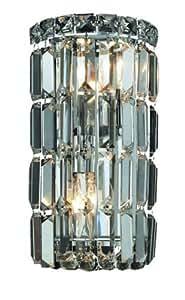 Elegant Lighting 2030W6C/RC Maxim 12-Inch High 2-Light Wall Sconce, Chrome Finish with Crystal (Clear) Royal Cut RC Crystal