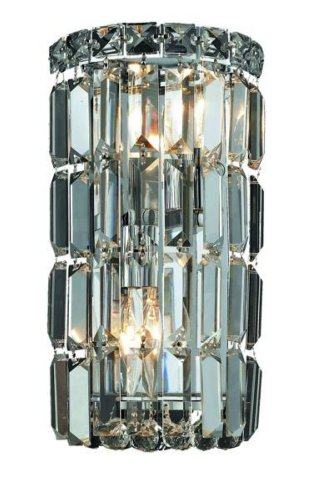 Elegant Lighting Maxim Collection 2030W6C/RC 2-Light Wall Sconce with Royal Cut Crystals, Chrome Finish (Wall Light Candelabra Sconce)