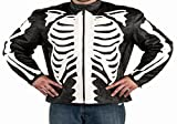 Reflective Skull Men's Black Leather Motorcycle Fashion Jacket (2XL)