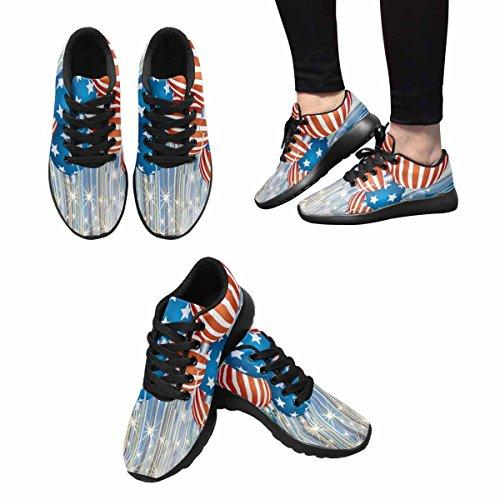 Scarpa Da Jogging Leggera Da Donna Running Jogging Leggera Easy Go Walking Comfort Sportivo Scarpe Da Ginnastica Astratto Sfondo Natalizio Con Palline Patriottiche Multi 1