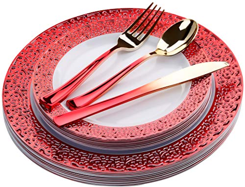 FOMOICA Red Plastic Plates and Red Gold Silverware - 125 Piece Disposable Premium Plastic Dinnerware Set - Dinner Plates, Forks, Spoons, Knives - Birthday Parties, Wedding, Christmas (Red Gold) (Party Christmas Wedding)