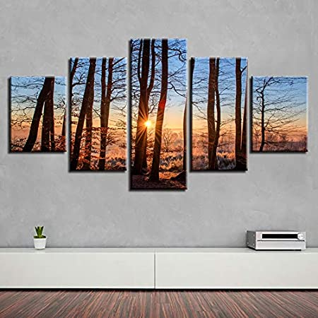 WJDJT 5 Paneles Cuadros En Lienzo Imágenes Decorativas Bosque, Sol, Ocaso Wall Art Decoración del Hogar Impresiones HD Póster 200X100Cm Mural De La Decoración De La Pared