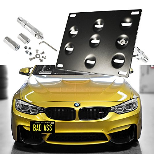 1 Set Front Tow Hook License Plate Bumper Mounting Bracket Fit BMW F30 F32 F33 F36 F10 F11 E84 F25 i3 3 4 5 Series X1 X 3 Mini Cooper R60 R61 E55 E56 [black]