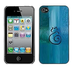 FlareStar Colour Printing Cat Minimalist Blue Watercolor Art cáscara Funda Case Caso de plástico para Apple iPhone 4 / iPhone 4S / 4S