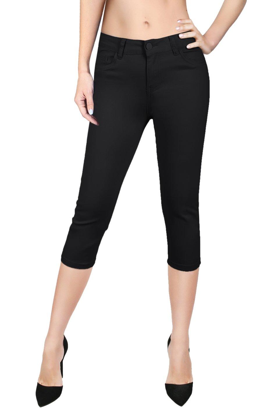 2LUV Women's Stretchy 5 Pocket Solid Skinny Capri Jeans Black 7