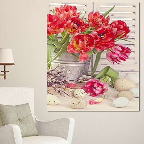 Design Art Tulip Flowers and Easter Eggs Floral on Canvas Art