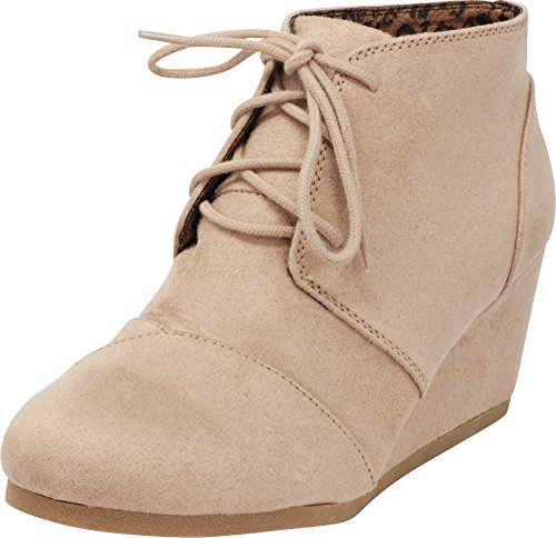 Cambridge Select Women's Lace Up Wedge Heel Ankle Bootie (8 B(M) US, Light Taupe IMSU) (Boot Wedges For Women)