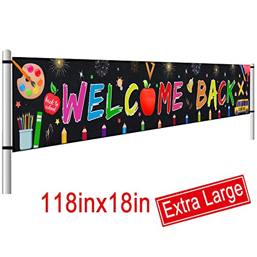 Large Welcome Back Banner, First Day of School Banner, Back to School Decorations Party Supplies, Teacher Banner Office Classroom Decor (9.8 x 1.5 FT) (Stakes Banner)
