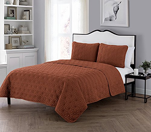 pe Embossed Polyester 3 Piece Quilt Set, SUPER SOFT Quilt Set, Wrinkle Resistant, Hypoallergenic Bed Set, King, Burnt Orange. (Super King Quilt)