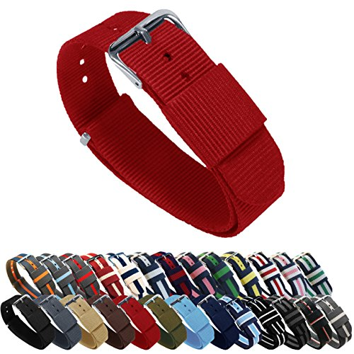 Barton Watch Bands - Choice of Color, Length & Width (18mm, 20mm, 22mm or 24mm) - Crimson Red 18mm - Standard Length