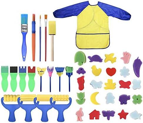 水彩筆 ブラシキットスポンジ描画形状が幼児盛り合わせパターンクリエイターのためのクラフトペイントブラシ絵画42個スポンジセットをペイント とても使用やすいです (色 : Multi-colored, Size : 42pcs)
