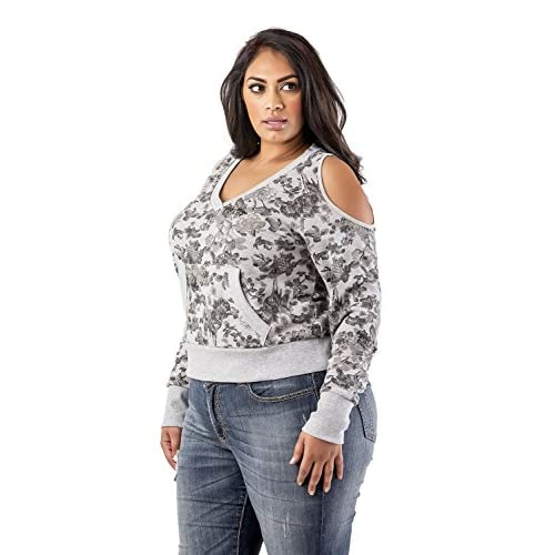 782aaa15d Poetic Justice Curvy Women's Plus Size Grey Floral Printed V-Neck Sweatshirt  80%OFF