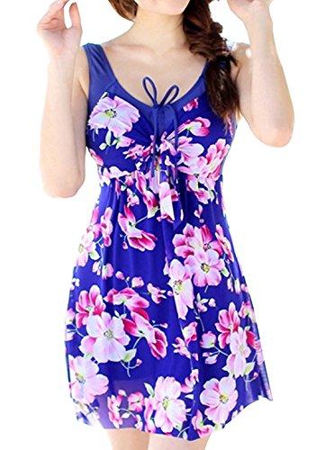 Nylon Womens Swimsuit (Wantdo Women's Plus Size Swimsuit Colorful Swimwear One Piece Sexy Swimdress,SapphireFlower,S(US2-4),Asian Size :)