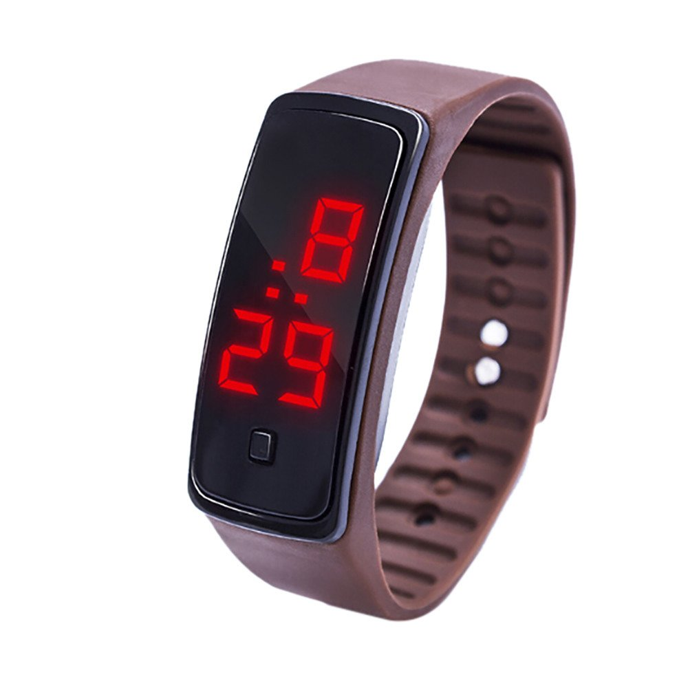 NRUTUP LED Digital Display Bracelet Watch Children's Students Silica Gel Sports Watch Hot Sales(Coffee,Free Size)