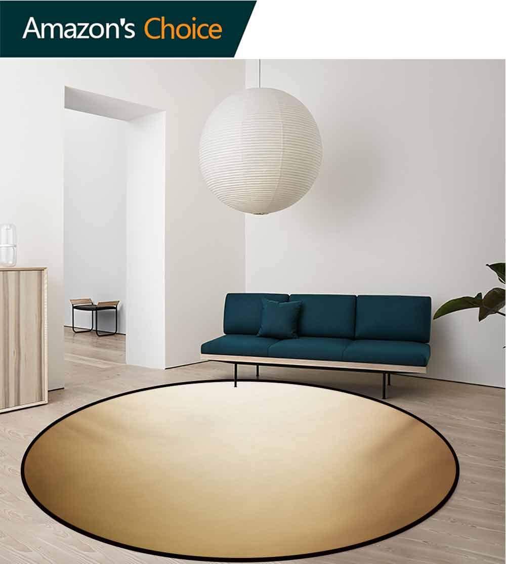 RUGSMAT Sepia Round Rug Kid Carpet,Abstract Gradient Display Soft Golden Brown Colored Plain Modern Digital Desgin Home Decor Foor Carpet,Diameter-47 Inch Ivory Sepia by RUGSMAT (Image #3)