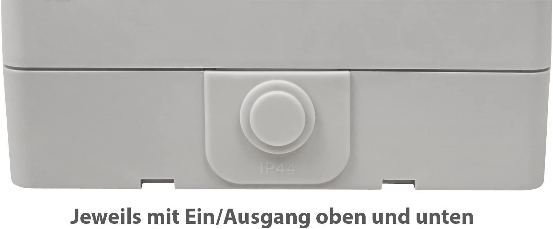 Feuchtraum Kombi-Dose McPower /'/'Taff/'/' IP44 Schalter+Steckdose AP 250V~ gra