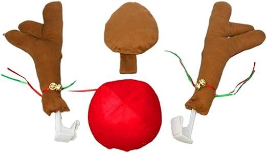 Amosfun 4 Piezas Coche de Navidad Auto Disfraz Reno asta Nariz ...