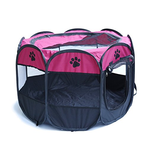 Patgoal Pet Portable Foldable Playpen Exercise Kennel Dogs Cats Indoor/outdoor Removable Mesh Shade Cover (S, Rose red)