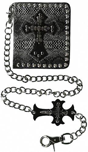 ABC STORY Womens Leather Front Pocket Snake Western Black Skull Biker Chain Wallet for - Men Wallets Skull For Leather