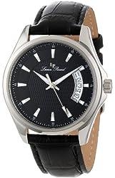 Lucien Piccard Men's 98660-01 Excalibur Black Textured Dial Black Leather Watch