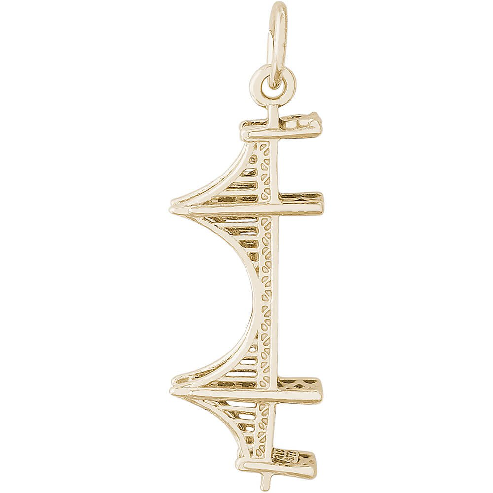 Rembrandt Charms 10K Yellow Gold 3-D Golden Gate Bridge Charm (0.44 x 1.14 inches)